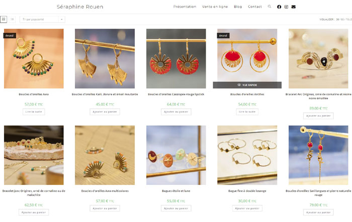 Boutique en ligne pour bijoux fantaisie