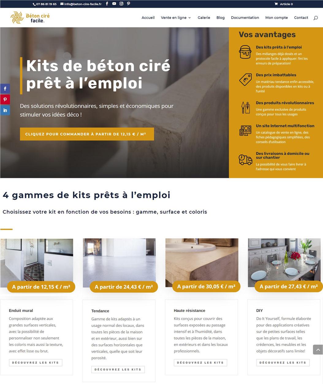 Page d'accueil créée pour le site Internet d'un artisan qui se lance dans le commerce en ligne