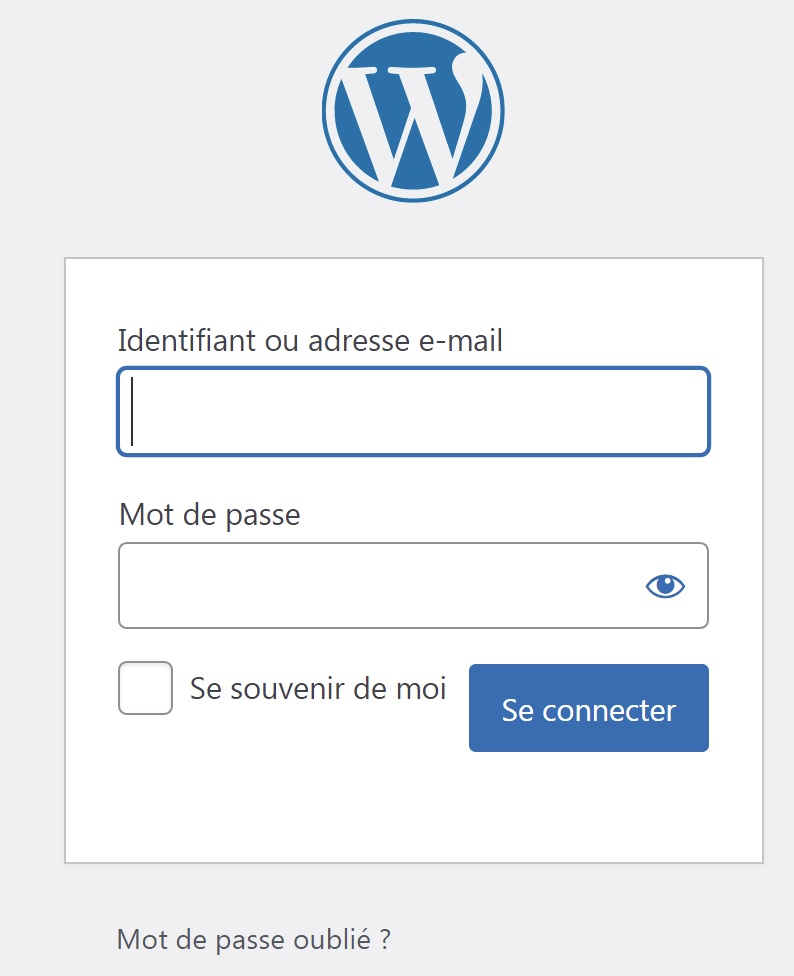 Connexion administrateur WordPress