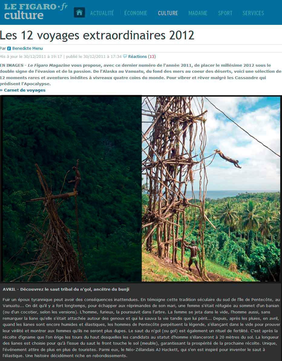 Publication de Vincent Prévost, saut rituel, îles Vanuatu