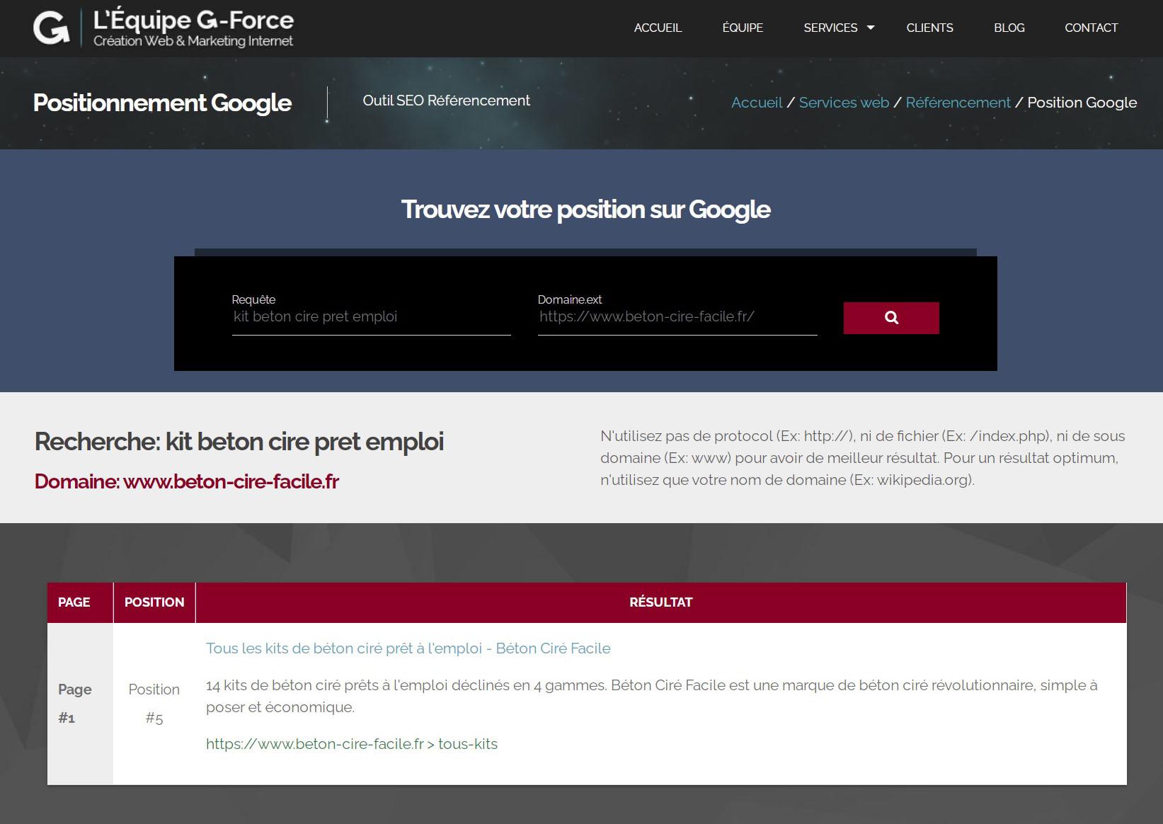 Site Internet référencé en première page de Google