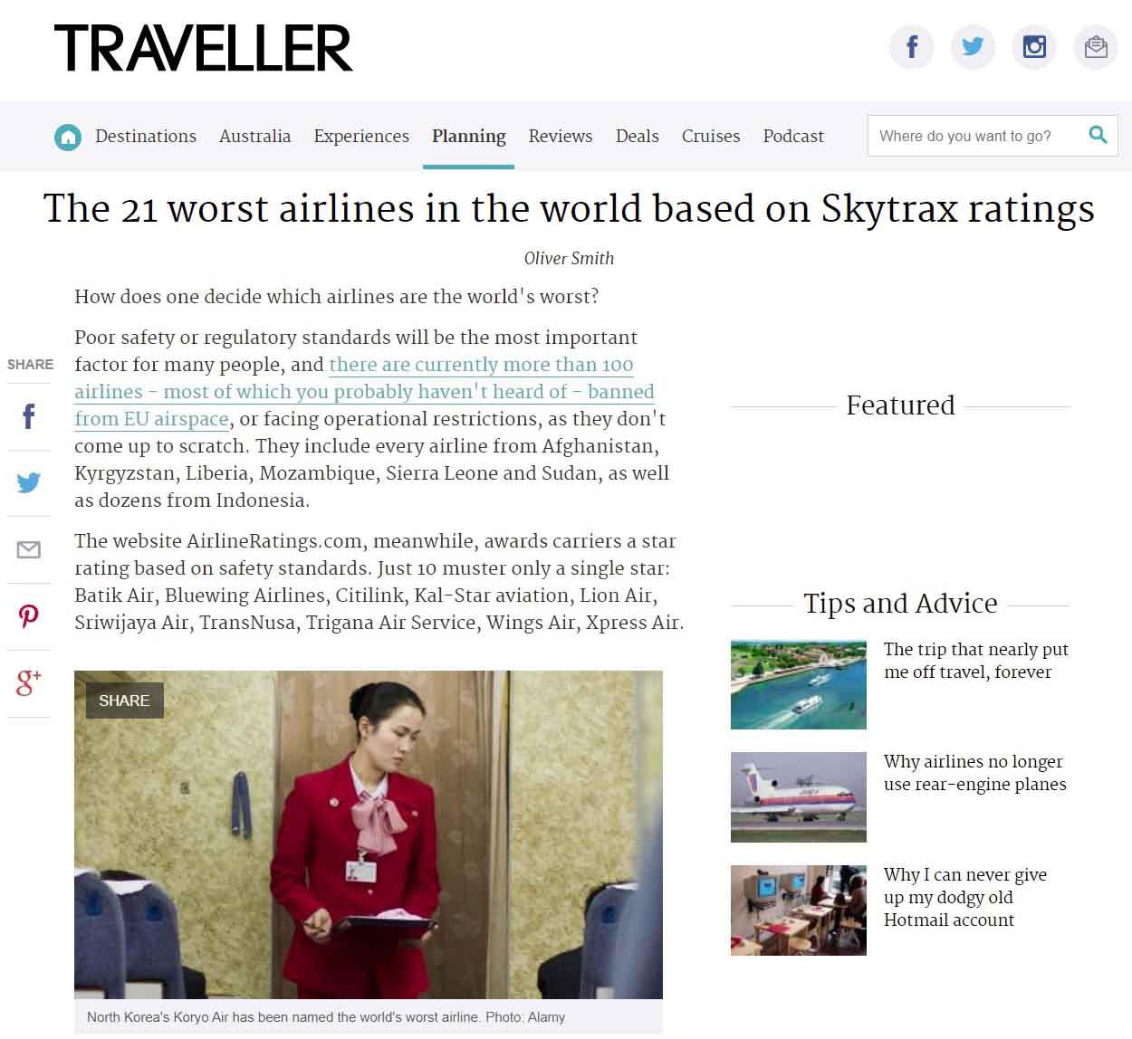 Publication de Vincent Prévost, hôtesse de l'air, Air Koryo, Corée du Nord
