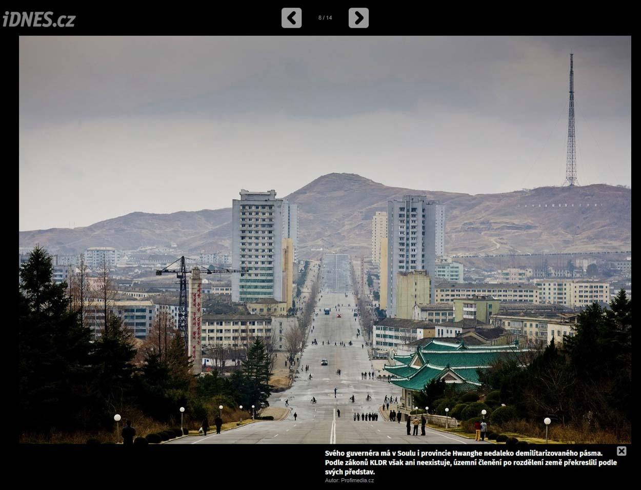 Publication de Vincent Prévost, large avenue désertée par les voitures, ville de Kaesong, Corée du Nord