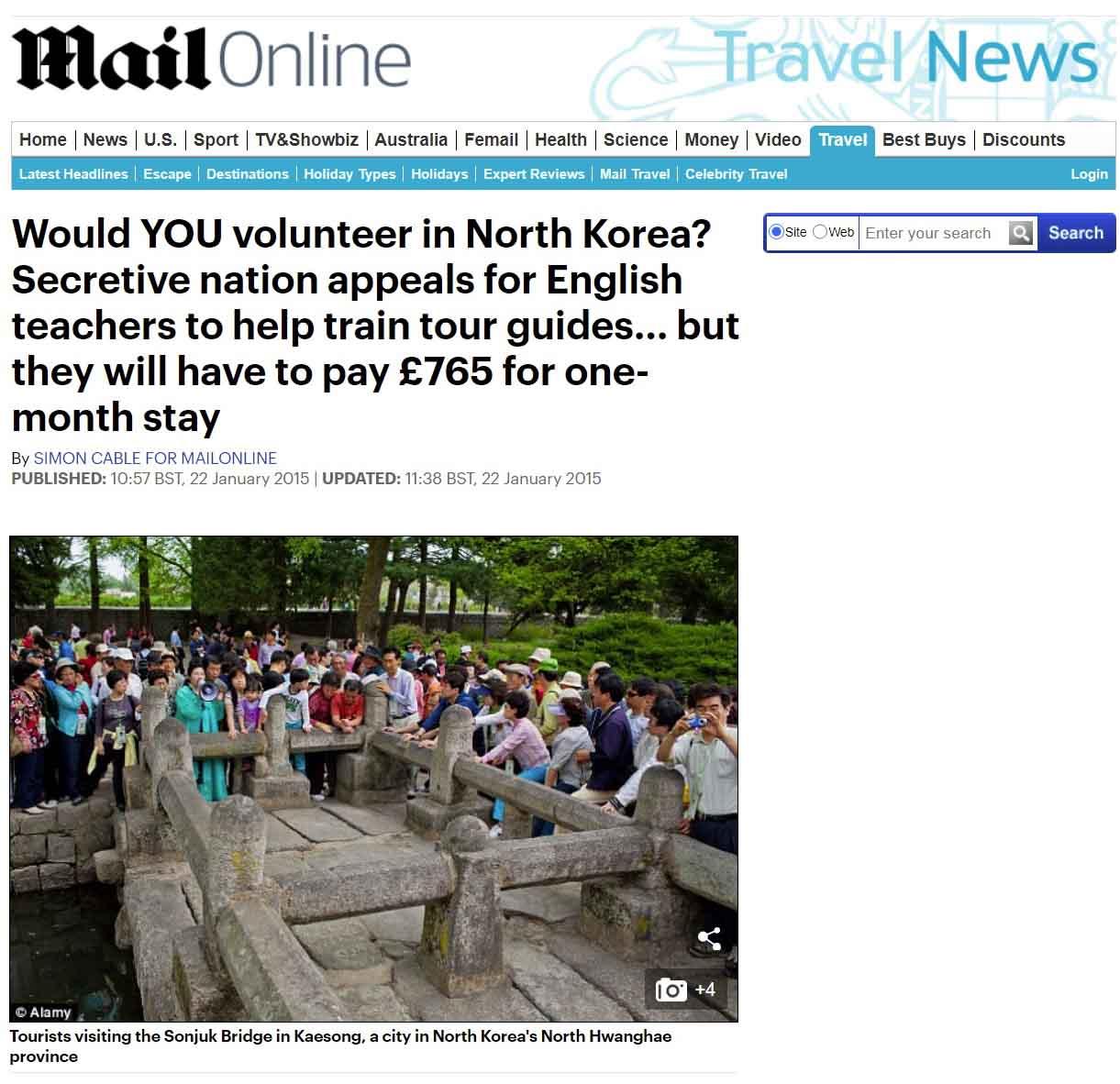 Publication de Vincent Prévost, tourisme, Corée du Nord
