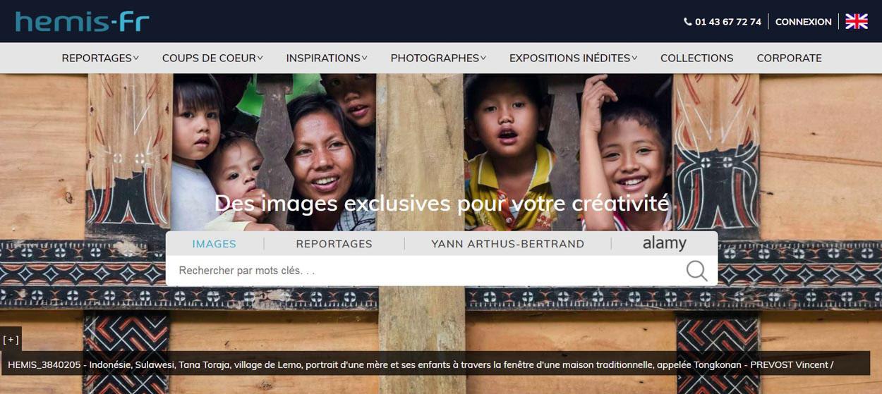 Couverture du site Internet de l'agence photographique Hémis par Vincent Prévost