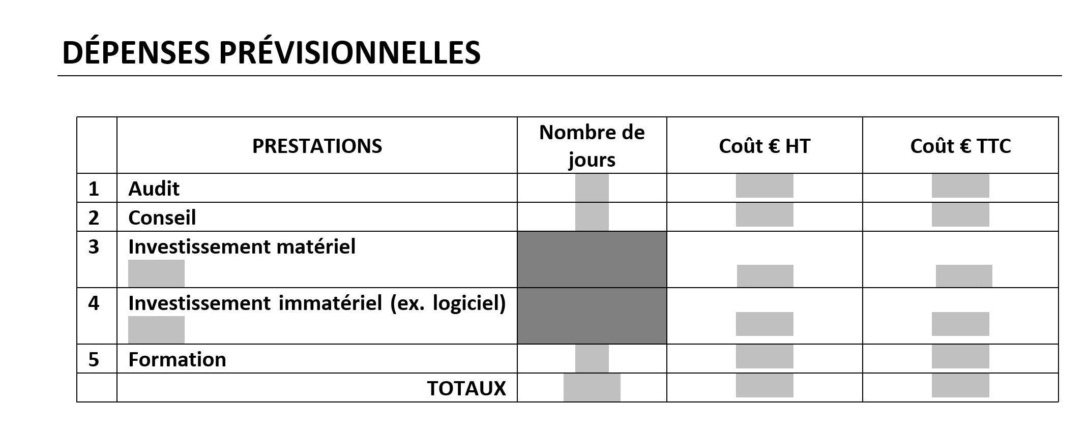 Tableau des dépenses prévisionnels pour dossier Impulsion Transition Numérique
