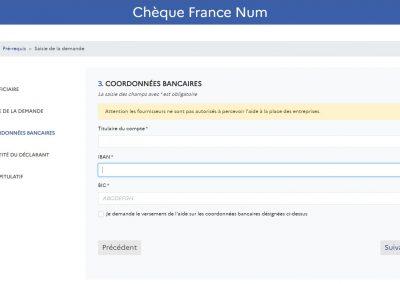 Formulaire de saisie pour demande Chèque France Num de 500 Euros