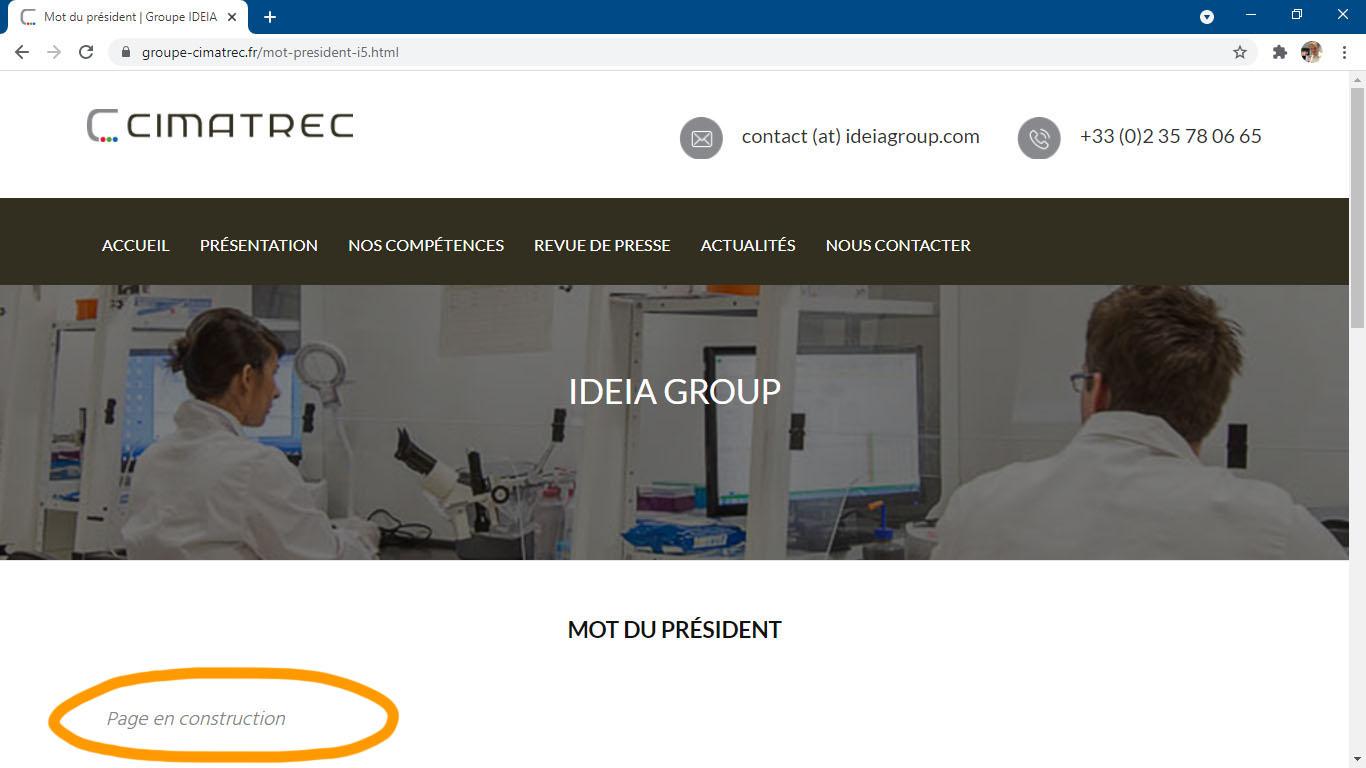 Exemple d'un site Internet professionnel avec des pages en construction abandonnées