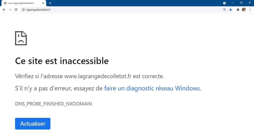 Exemple d'un site Internet professionnel inaccessible