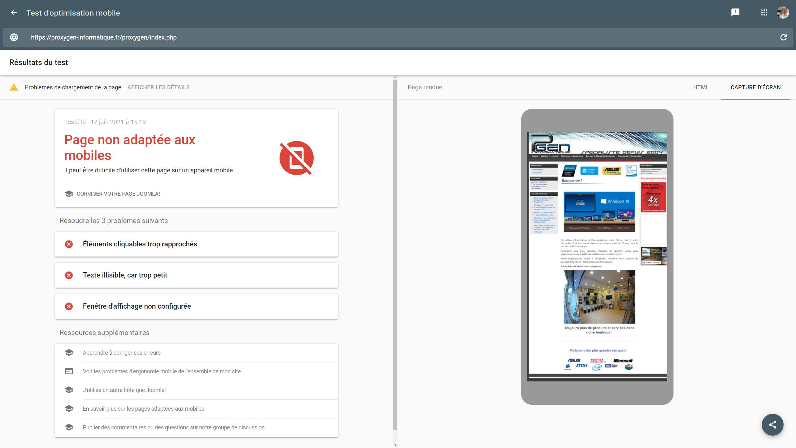 Exemple d'un site Internet professionnel au design non responsive