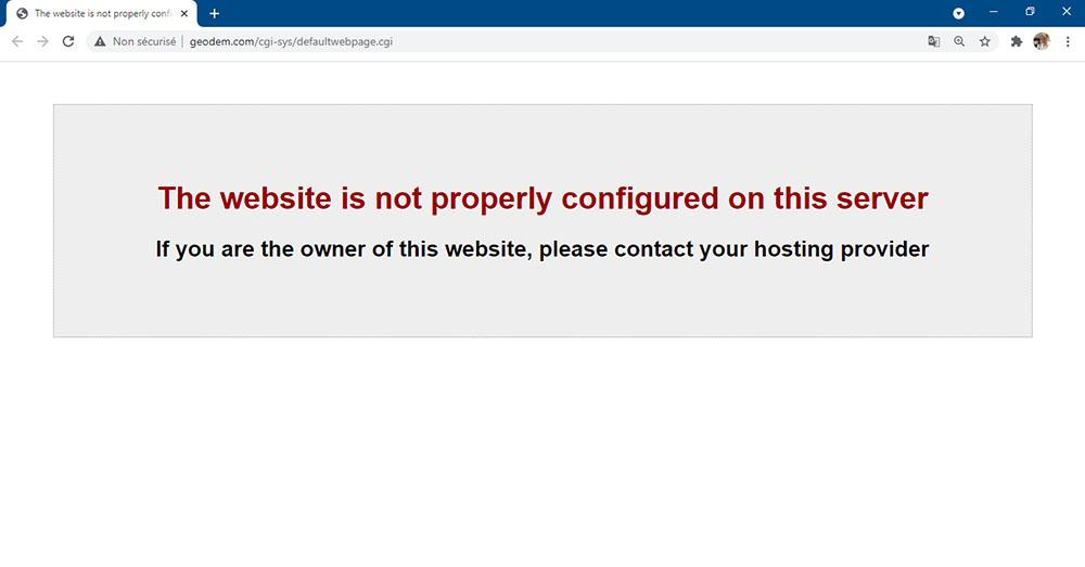 Exemple d'un site Internet professionnel avec un problème de serveur
