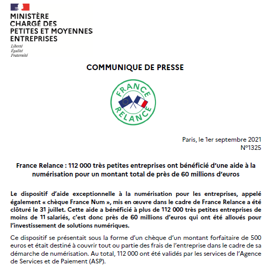 Bilan chèque France Num